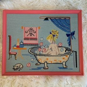 SWEET NEEDLE POINT PICTURE FOR LITTLE GIRLS ROOM